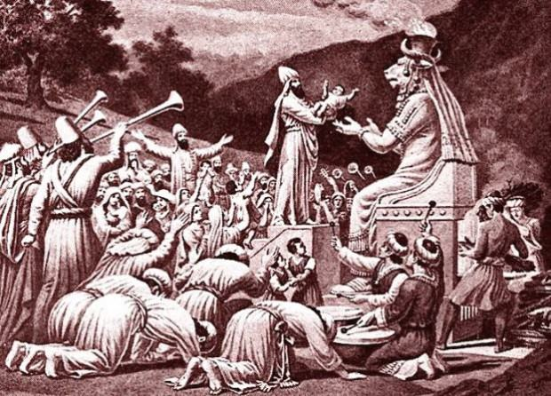 Молох - языческое божество, которому, по приданию, приносили человеческие жертвы
